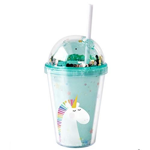 Wenlia Borraccia per bambini, tazza da viaggio unicorno riutilizzabile senza BPA da 380 ml bicchiere a doppia parete con coperchio e cannuccia Bottiglie isolate - per feste estive e regali