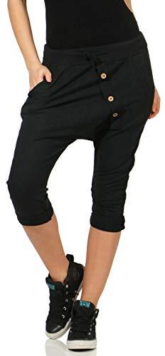 Malito Damen Kurze Hose in Uni Farben | Chino Hose mit Knopfleiste | Baggy zum Tanzen | Sweatpants 8011 (schwarz)