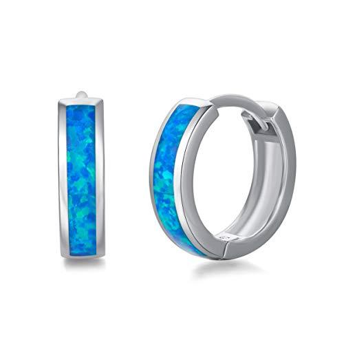 Pendientes de Aro Rectángulo para Mujer Plata de ley 925 y Sintético Ópalo Azul Aretes Pendientes Hoops Joyas para Mujer Niñas - Diámetro: 14 mm