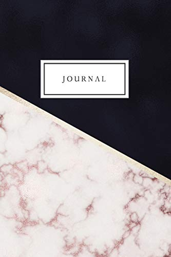 Journal: Blank Lined Journal College Ruled Diary Notebook Luxury Navy Rose Gold Marble