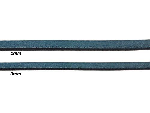 Creative-Beads leren koord, leren band, vlak, 3 mm breed, 1 mm dik. 1 m lang, 3mm breit groen