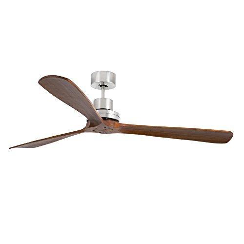 Faro Barcelona Lantau 33464 Ventilator ohne Licht, Stahlgehäuse, Rotorblätter aus natürlichem Nussbaumholz (dunkel)