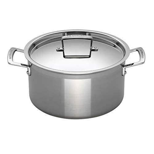 Le Creuset 3-Ply Olla con tapa, diametro 24 cm, Acero inoxidable, Volumen 6 L, Para todo tipo de fuentes de calor incluso inducción, Metálico