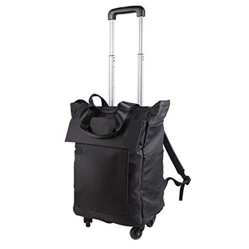 Chariot de courses à roulettes amovible universel - Sac de voyage portable - Sac de rangement pour les voyages courts - Sac de transport - Couleur : noir - Taille : 28 x 16 x 93 cm