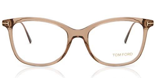 Eyeglasses Tom Ford FT 5510 045 Shiny Transparent Brown Front, Rose Gold Temples
