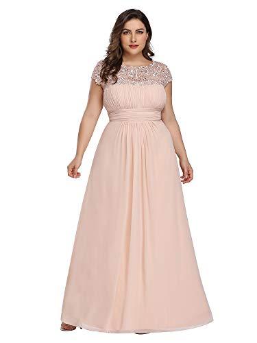 Ever-Pretty Womens Plus Size Floor-Length Black Tie Evening Party Dresses Blush US 22