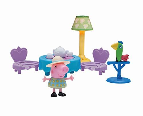 Peppa Pig Teetrinken mit Peppa Peppa Pig, Set da Gioco, Tavolo con 2 sedie, Lampada, Polly Piepmatz, Giocattolo per Bambini dai 2 Anni in su, Colore per Bere Il tè, 97007