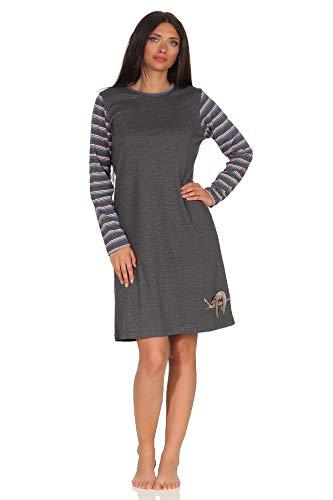 NORMANN wasproductie dames nachthemd lange mouwen knuffelinterlock - schattig luier diermotief - ook in oversized