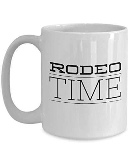 N\A Taza de café de Rodeo - Rodeo Time - Cowboy Cowgirl Bronc Riding Bull Rider Atracción Hobby Bota de Silla Competición de Caballos Fuerza Agilidad