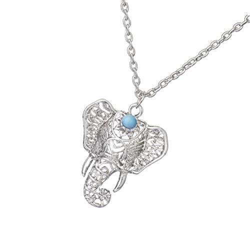 Holibanna Colar com pingente de elefante boho, corrente de prata antiga da sorte, gargantilha retrô, colar de amizade para mulheres, meninas, prata