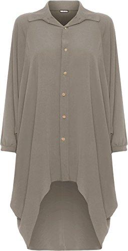 WearAll Damen Übergröße Batwing Hemd Kleid Lang Hülle Tauchen Saum Hi Es Schaltfläche Kragen Damen - Mokka - 48-50