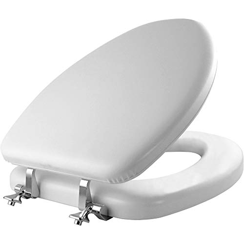 Mayfair 1815CP 000 Soft Toilet Seat with Premium Chrome Hinges that will Never Loosen, ELONGATED, White