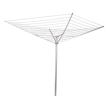 Household Essentials 17120-1 Rotary Outdoor Umbrella Drying Rack   Aluminum Arms and Steel Post   12-Lines with 165 ft. Clothesline