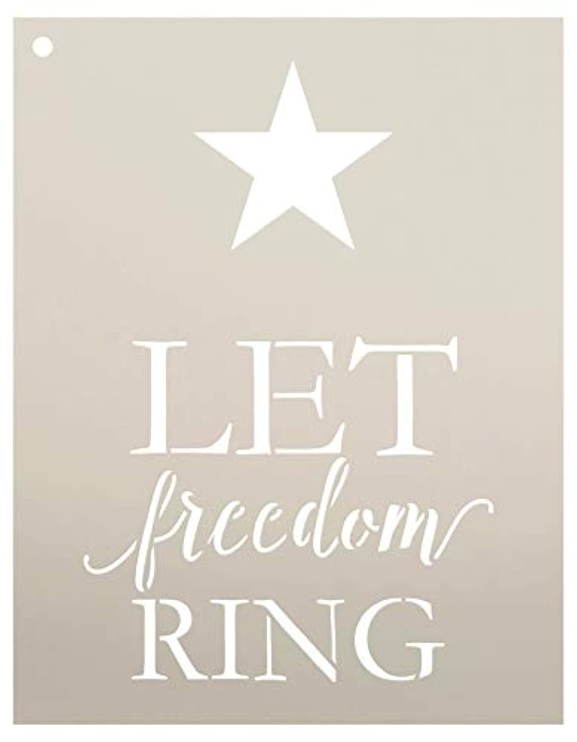 Let Freedom Ring with Star Stencil by StudioR12 | Reusable Mylar Template | Use to Paint Wood Signs - Pallets - Pillows - DIY Patriotic Decor - Select Size (9
