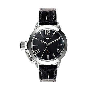 [ユーボート] メンズ レディース 腕時計 自動巻き クラシコ40 ホワイトダイヤモンド CLASSICO 40 SS WHITE DIAMONDS 6950 革ベルト ブラック 黒