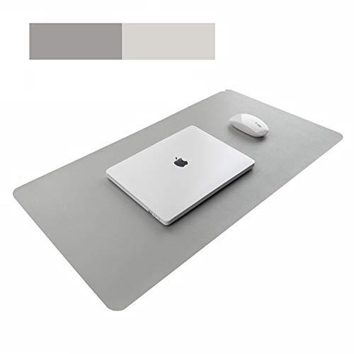 Schreibtischunterlage,60*30cm Rutschfeste Pu-leder Multifunktionale Schreibtischunterlage, ultradünn,Mauspad, zweiseitig nutzbar,Schreibtisch Pad Protector Schreibmatte für Büro/Zuhause(Grau+Silber)