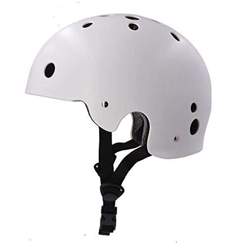 ヘルメット 登山用 EPS+PC製 防護帽 軽量 サイズ調整可能 沢登り ロック クライミング キャンプ アウトドア 装備 安全保護 消防救援 洞窟探検 スケートボード ヘルメット (ホワイト,頭囲は51−55cm)