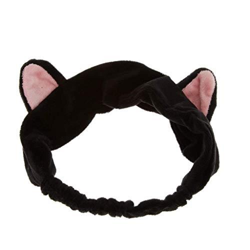 Haobase 1pcs Stirnband Haarbänder Mit Katzenohr Für Gesicht Waschen Oder Make-up (Schwarz)