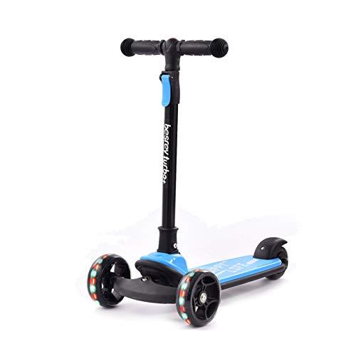 Scooter para niños con ruedas de destello Scooter para niños de 3 a 8 años, altura ajustable, 3 ruedas, cubierta extra ancha para niños de 3 a 8 años, color azul