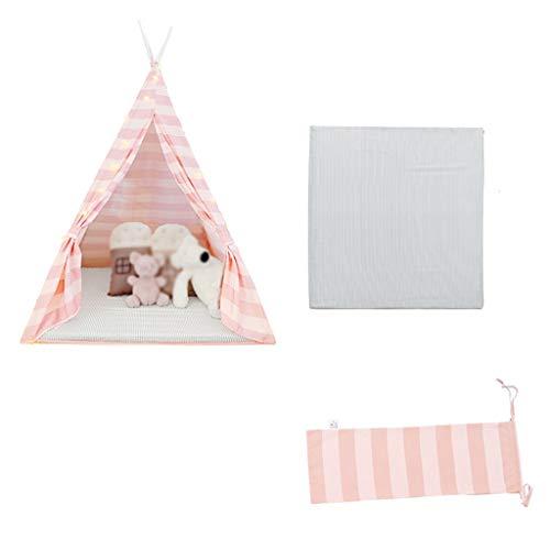 Playhouse – Esquina de lectura, juego móvil Teepee con patrón de rayas, casa de juegos para niños y niñas (tienda + esterilla) (color: rosa, tamaño: 90 x 90 x 130 cm)