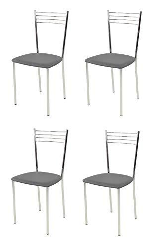 t m c s Tommychairs - Set 4 sillas Elena para Cocina, Comedor, Bar y Restaurante, Estructura en Acero Cromado y Asiento tapizado en Polipiel Color Gris Oscuro