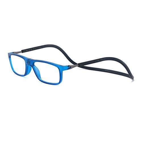 MMOWW Gafas de lectura montadas en el cuello Gafas neutrales ajustables magnéticamente para computadora portátil(azul,+2.0)