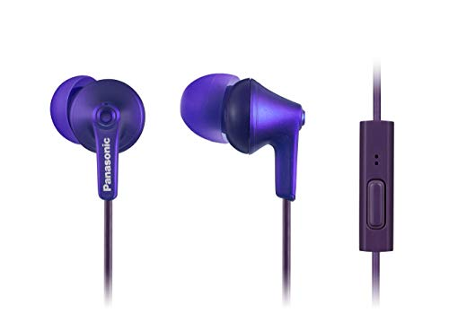 PANASONIC ErgoFit Earbud Headphones with Microphone and Call Controller Compatible with iPhone, Android and Blackberry - RP-TCM125-VA - In-Ear (Metallic Violet)