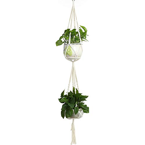 Michorinee Makramee Blumenampel Baumwollseil Hängeampel Boho Doppelt Pflanzenhalter Blumentopf Pflanzerkorb Aufhänger für Innen Außen Wanddekoration Set of 1