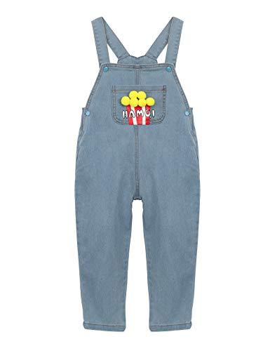 Baby Kleinkind Kinder Jungen Mädchen Jeans Latzhosen Denim Jeans Hosen für Frühling Sommer Herbst Cartoon Popcorn Muster Größe 120cm
