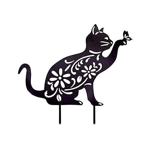 Cyhamse 1pc/3pcs Gartendeko Rost Katze Hohlgeschnitztes Design Tierstatuen Baumstecker Metall Stecker Katze Rost Stecker Katze Tiere Metalldeko Katze Tiere Dekoration Für Garten