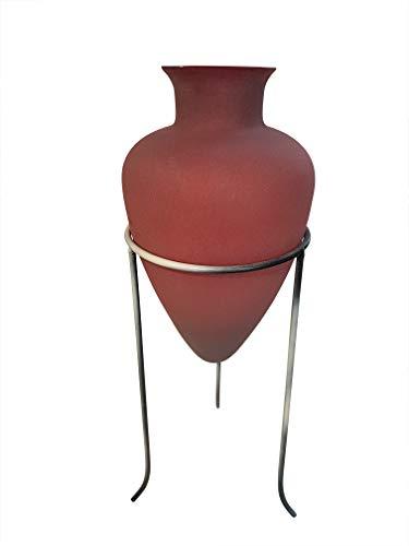 Vaso Antico stile panciuto nel supporto in metallo rosso in vetro ANFORA altezza ca. 32cm altezza totale: circa 50cm