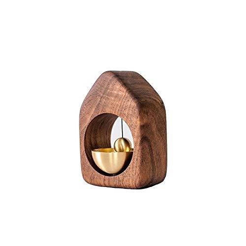 Campanas de viento para decoración de habitación y decoraciones colgantes tipo puerta de ventosa, de madera maciza, sencillo manual de cobre, campanillas de viento de la suerte (color: nogal negro)