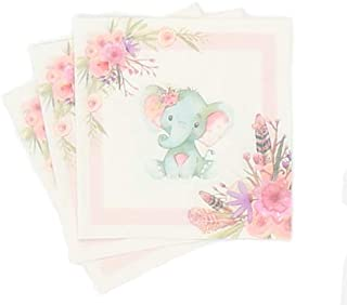 32 Elephant Napkins | Pink | Elephant Supplies and Decorations | Perfect for Elephant Baby Shower or 1st Birthday Party | ...