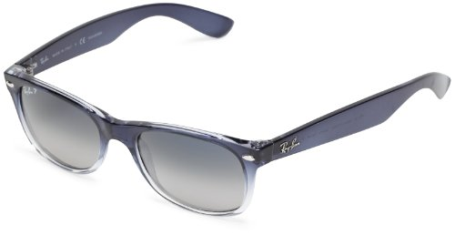 Ray-Ban RB2132 New Wayfarer Sunglasses, Blue On Transparent/Polarized Grey Gradient, 55 mm