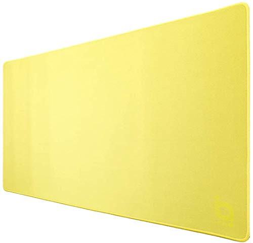 O ioPLUS XL Extended Gaming Mouse Pad with Stitched Edges, Premium-Textured Cloth, Non-Slip Rubber Base, Waterproof Keyboard Pad, 27.6x15.7 Inch (Yellow)