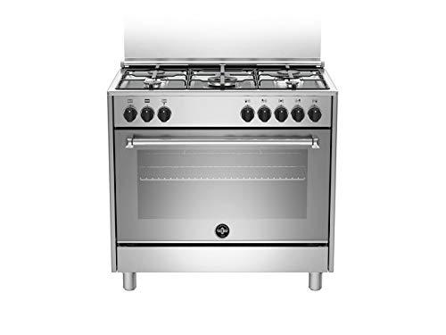 Bertazzoni La Germania Americana AMN965EXV - Cocina (Cocina independiente, Acero inoxidable, Giratorio, Negro, Frente, Encimera de gas)