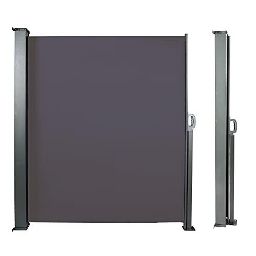 CCLIFE Seitenmarkise Ausziehbar Sichtschutz Windschutz Sonnenschutz TÜV mit Alu-Rolle, Farbe:Anthrazit, Größe:160x300cm