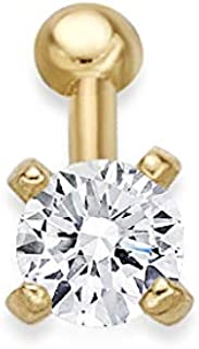 Lavari - 14K Gold 2mm White Cubic Zirconium Nose Ring Straight Stud 22G