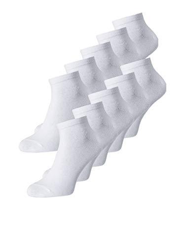 JACK und JONES Herren JACDONGO 10 Pack NOOS Socken, White/Detail:White-White-White-White-White-White-White-White-White, ONE SIZE