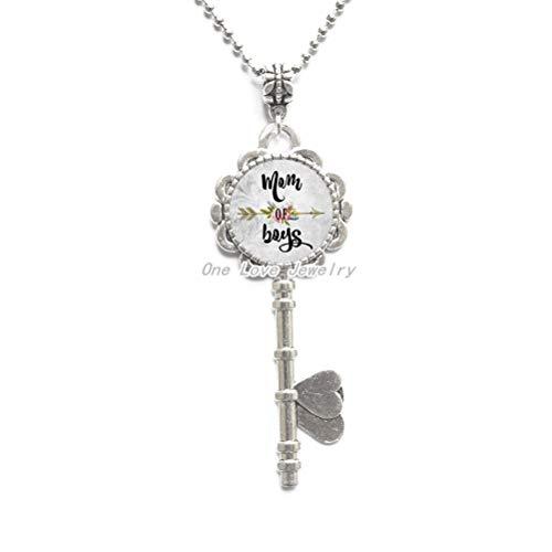 Ni36uo0qitian0ozaap Collar de llave con colgante de cristal de aleación de mamá de S con texto en inglés 'MOM of S', para madre y madre Love, TAP259