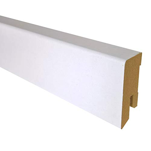 25 m TRECOR® Sockelleiste Weiß 40 mm Hoch | CUBE Form 16 x 40 mm ✓Kabelkanal ✓weisse Oberfläche | MDF Trägermaterial | Länge 2.5m | Bodenleiste für Laminat | Abschlussleiste CUBE Profil rechteckige Form für Parkett | CUBE Fußleiste für Teppichboden