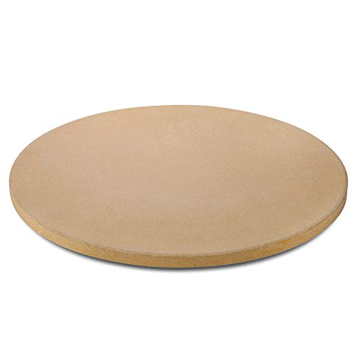 Unicook Heavy Duty Ceramic Pizza Grilling Stone, 15 Inch Round Baking Stone, Pizza Pan, Perfect for Oven, BBQ and Grill, Thermal Shock Resistant, 6.5lbs