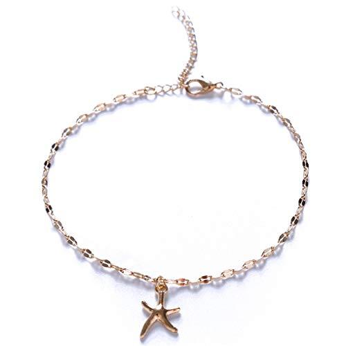 Timesuper Pulsera tobillera con estrellas de mar de playa, accesorios de joyería para mujeres y niñas