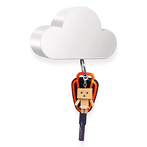 White Cloud Magnetic Key Holder for Wall, Creative and Unique Ornament, Strong Magnetic Force Can Hang Multiple Keys and Keychain, Easy to Install and Convenient to Use. (White)