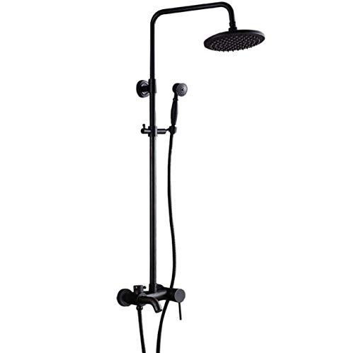 HDDD Badezimmer-Duschmischer-Set, schwarz, antikes Badewannensystem mit oberer Dusche + Handbrause + unterer Auslaufmodus, Hotel-Wasserhahn-Zubehör