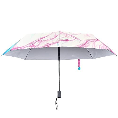 Paraguas de tinta con textura de mármol, cierre automático, estilo moderno, con protección UV, con funda impermeable, Blanco2 (Blanco) - Knowikonwn-UBR