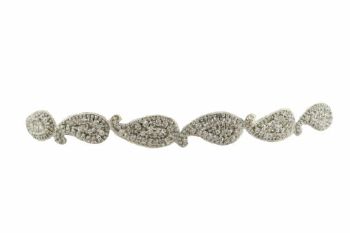 Pink Pewter Beaded Stretch Headband (Angelina Style, Silver with Rivets & Gemstones)