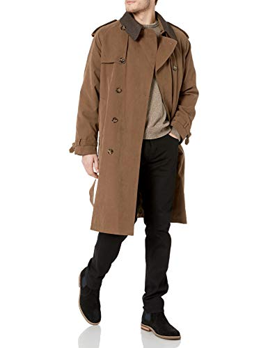 London Fog Men's Iconic Double Breasted Trench Coat with Zip-Out Liner and Removable Top Collar, British Khaki, 46R