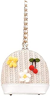 TOOGOO Shell Type Woven Shoulder Bag Handbag Three-Dimensional Flower Cherry Lady Messenger Bag Yellow