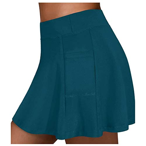 STKOOBQ Short esportivo feminino para academia, saia de tênis para corrida, ioga, shorts internos e elásticos, bolsos para golfe, Hakama, Azul, M